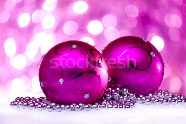Рождества украшение два розовый свет праздник Сток-фото © ajfilgud