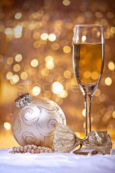 Рождества украшения шампанского стекла bokeh Сток-фото © ajfilgud