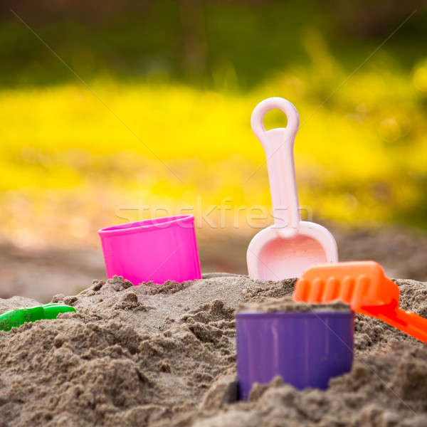 песок лопатой ребенка площадка пляж игрушками Сток-фото © ajfilgud