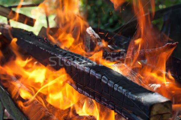 Yangın Alevler barbekü ahşap turuncu alev Stok fotoğraf © ajfilgud