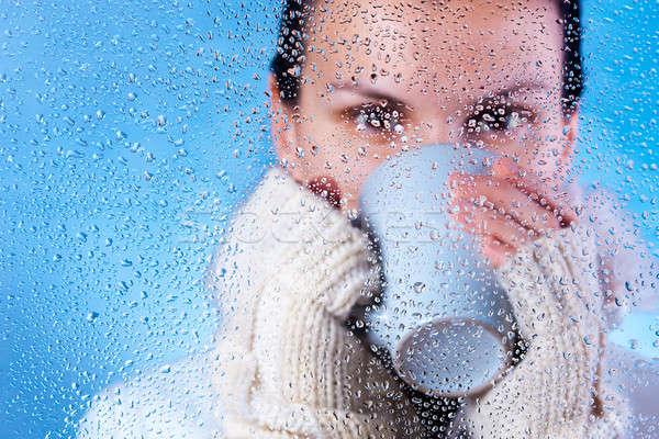 питьевой чай красивая девушка горячей напиток зима Сток-фото © ajfilgud