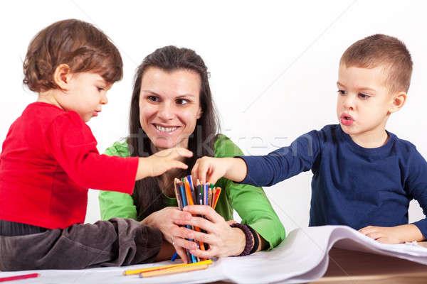 дети карандашей мальчика девушки Сток-фото © ajfilgud