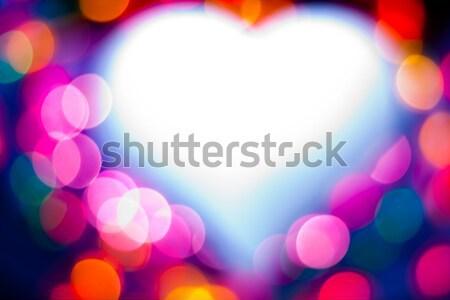 Kalp kalp şekli renkli parıltı sanat ışıklar Stok fotoğraf © ajfilgud