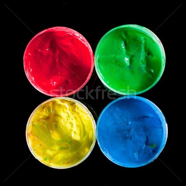 Renk boya su renkler çocuklar parmak Stok fotoğraf © ajfilgud