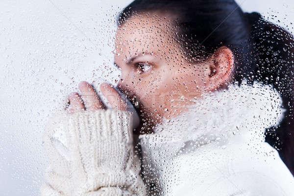 Içme çay güzel kız sıcak kış Stok fotoğraf © ajfilgud