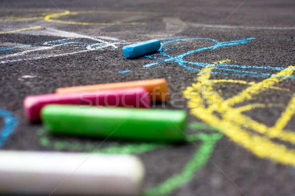 искусства Kid площадка мелом улице Сток-фото © ajfilgud
