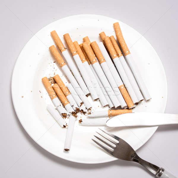 сигарету зависимость курение иллюстрированный еды здоровья Сток-фото © ajfilgud