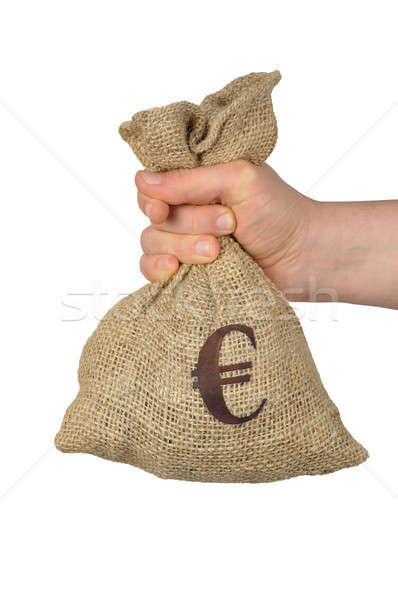 Euro saco mão símbolo isolado branco Foto stock © ajt