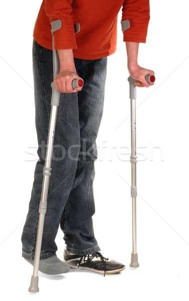 人 松葉杖 誰か 孤立した 白 男 ストックフォト © ajt