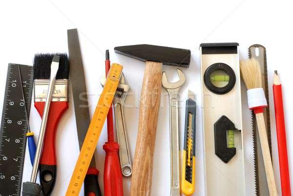 Szerszámok izolált szett ceruza kés akta Stock fotó © ajt