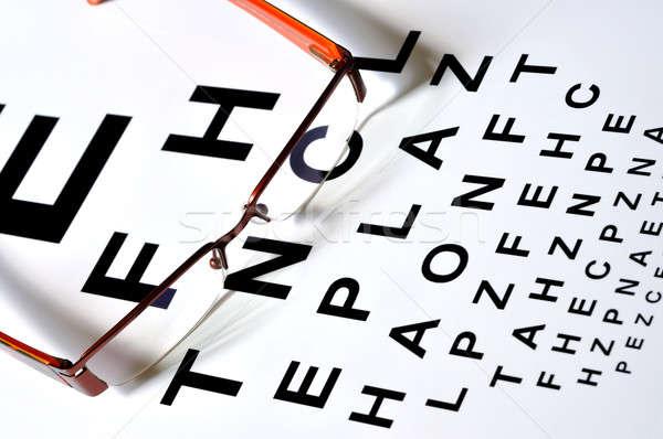 Gläser Vision Test Tabelle Auge Augen Stock foto © ajt