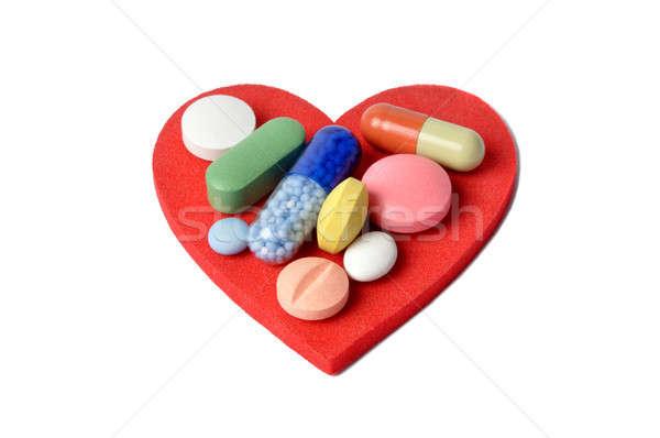 Foto stock: Corazón · pastillas · macro · cápsulas · rojo