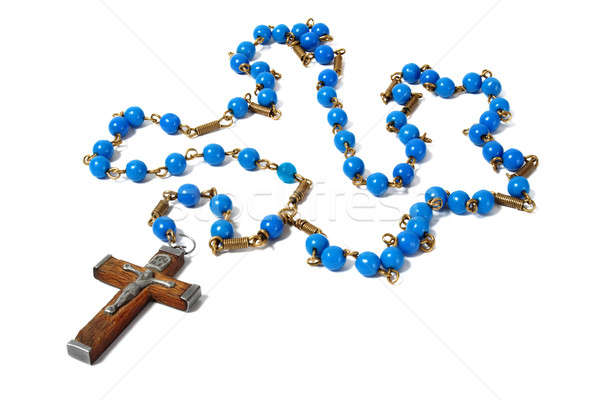 Blauw rozenkrans kralen witte gebed Stockfoto © ajt