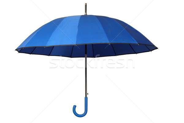 Kék esernyő fehér nyitva izolált Stock fotó © ajt