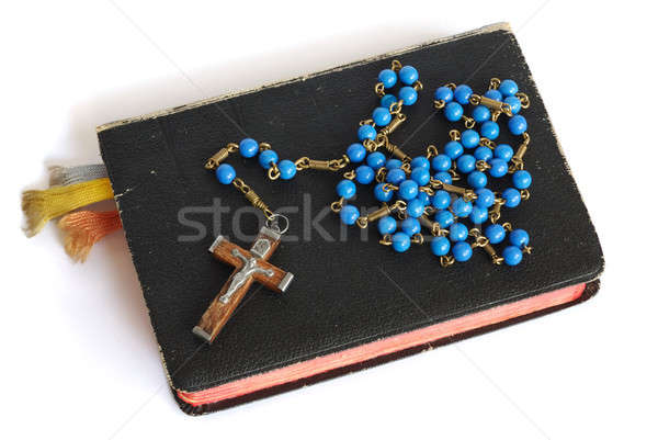 Preghiera libro vecchio rosario isolato bianco Foto d'archivio © ajt