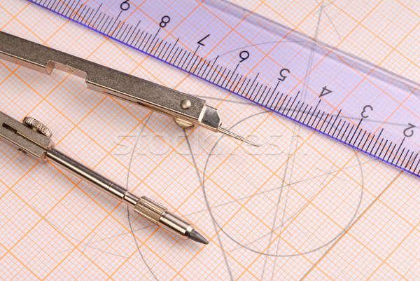 Mértan makró szerszámok rajz vonalzó grafika Stock fotó © ajt
