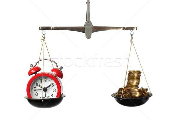 Время-деньги Весы часы монетами деньги время Сток-фото © ajt