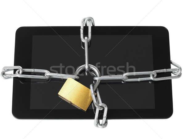 Zárolt tabletta táblagép lakat lánc számítógép Stock fotó © ajt