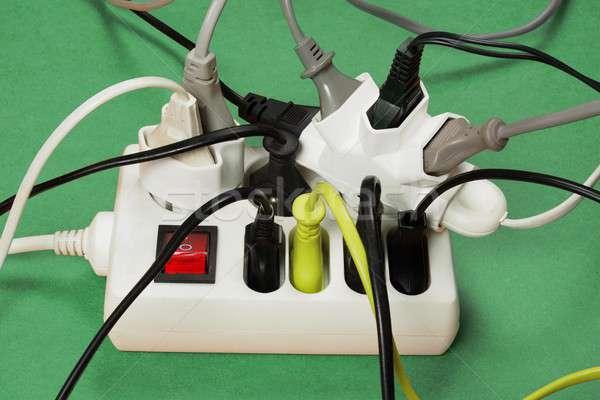 Kordon çoklu avrupa elektrik tahta devre Stok fotoğraf © ajt