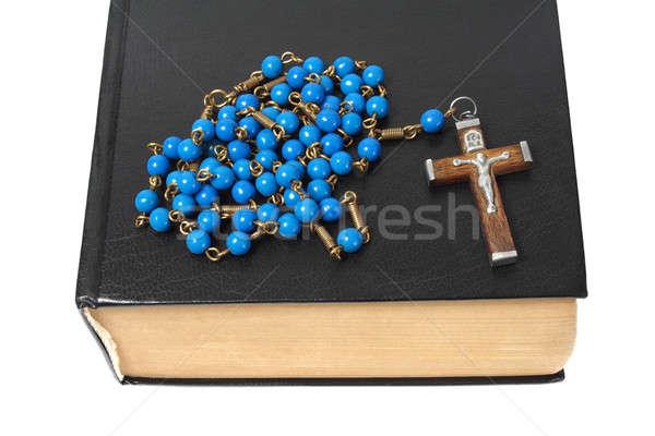 Rozenkrans heilig bijbel Blauw zwarte geïsoleerd Stockfoto © ajt