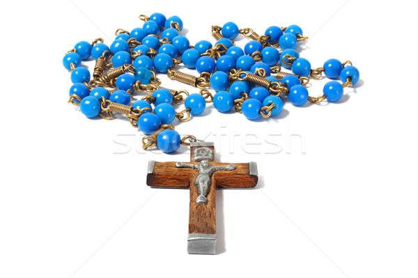 Rosario blanco aislado religión Foto stock © ajt