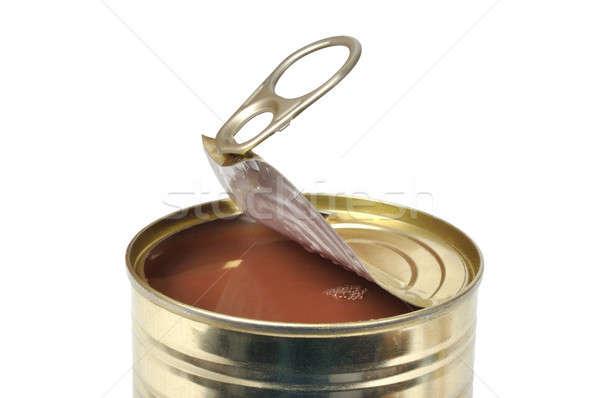 トマトスープ オープン することができます 孤立した 白 ストックフォト © ajt