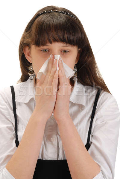 Allergie fille mouchoir blanche adolescent Photo stock © ajt