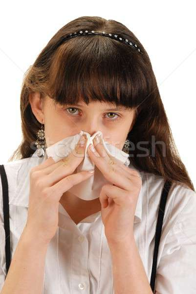 Lány zsebkendő stúdiófelvétel fehér tinédzser vírus Stock fotó © ajt