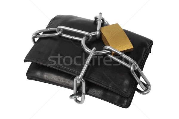 Foto stock: Carteira · cadeias · cadeado · branco · financiar · trancar