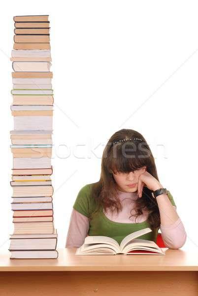 Photo stock: Fille · livres · adolescente · beaucoup · éducation · bureau