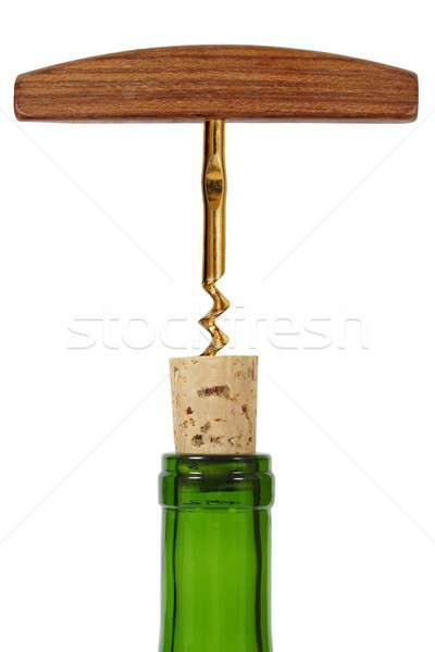 Borosüveg dugóhúzó üveg bor izolált fehér Stock fotó © ajt