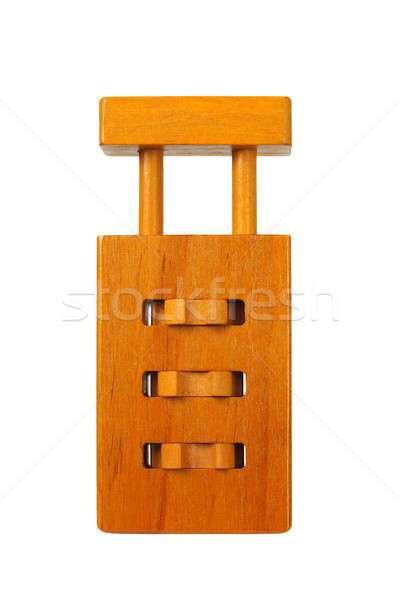 Bois cadenas puzzle isolé blanche Photo stock © ajt