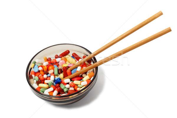 Puchar narkotyków pałeczki do jedzenia muzyka biały Zdjęcia stock © ajt