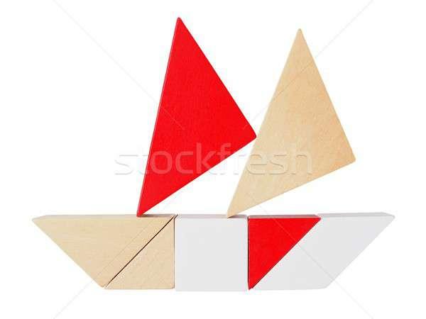 Puzzle blanche bateau silhouette isolé jouet Photo stock © ajt