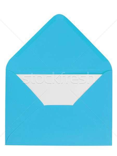 Kék boríték levél nyitva fehér bent Stock fotó © ajt