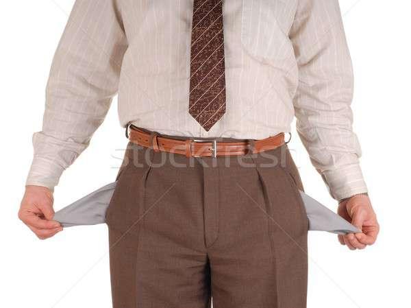 Becsődölt üzletember mutat üres izolált fehér Stock fotó © ajt