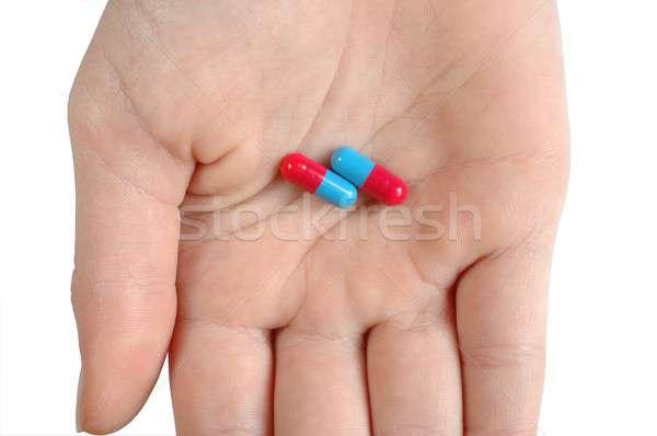 Kapszulák kéz kórház pálma gyógyszer drogok Stock fotó © ajt