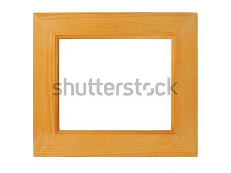 Ahşap resim çerçevesi dikdörtgen yalıtılmış beyaz ahşap Stok fotoğraf © ajt