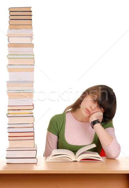Photo stock: Fille · livres · écolière · élevé · éducation