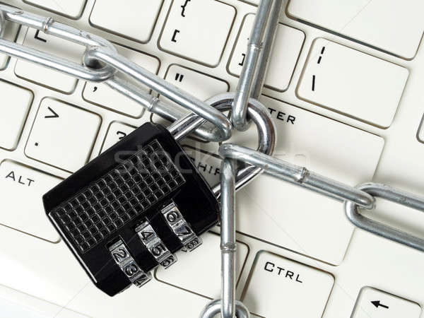 Cipher padlock on keyboard Stock photo © ajt