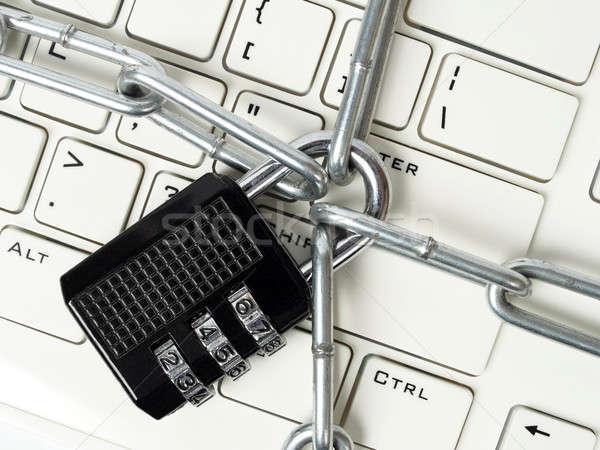Kłódki klawiatury zablokowany łańcucha komputera Zdjęcia stock © ajt