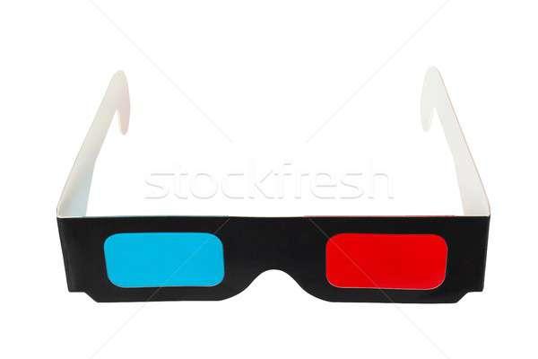 3d gözlük beyaz yalıtılmış gözlük oyun karton Stok fotoğraf © ajt