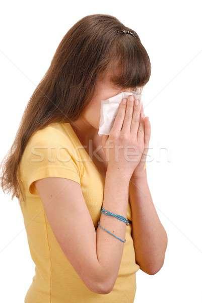 Lány zsebkendő tinilány izolált fehér tini Stock fotó © ajt