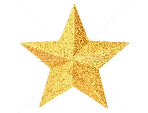 Oro Natale star bianco macro isolato Foto d'archivio © ajt