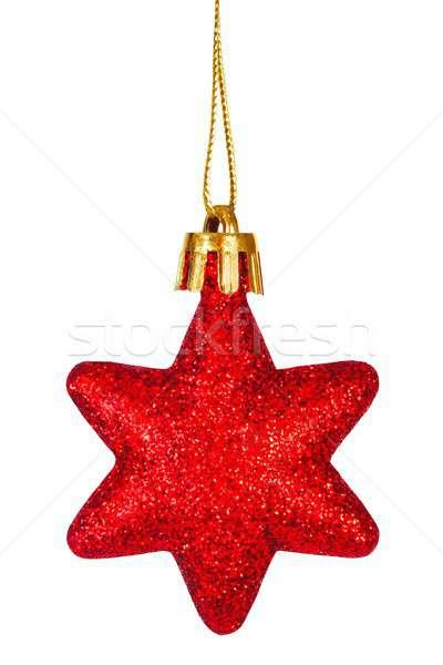 Noël babiole blanche suspendu arbre star Photo stock © ajt