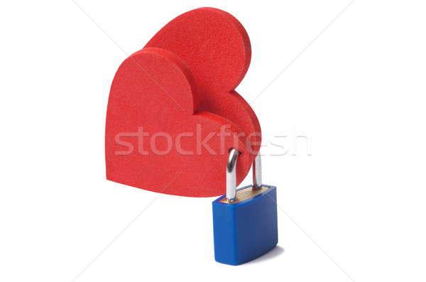 Serca kłódki miłości dwa zablokowany biały Zdjęcia stock © ajt