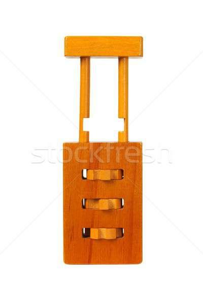 Houten hangslot puzzel geïsoleerd witte Stockfoto © ajt
