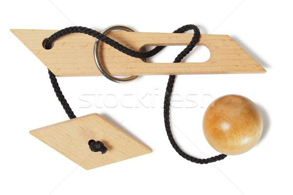 Wooden puzzle on white Stock photo © ajt