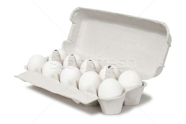 Oeufs blanche dix contenant isolé boîte Photo stock © ajt