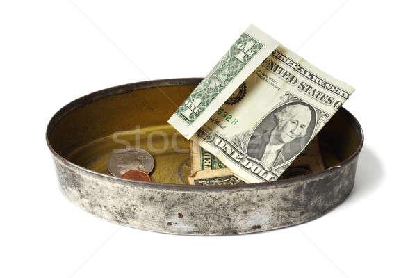 Konzervdoboz konzerv pénz izolált fehér pénz Stock fotó © ajt